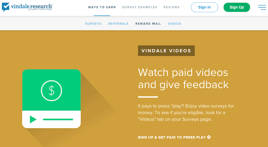 Vindale Research Get Paid to Watch Videos Page
