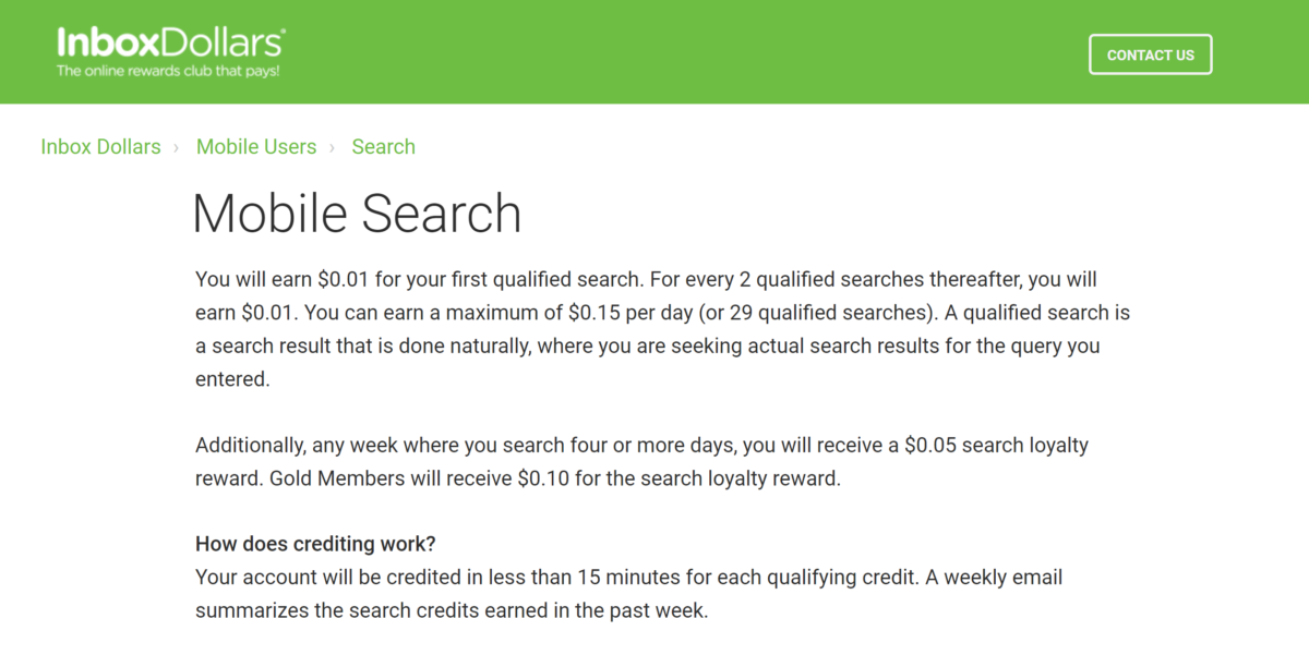earn cash in $0.01 increments with InboxDollars Mobile Search