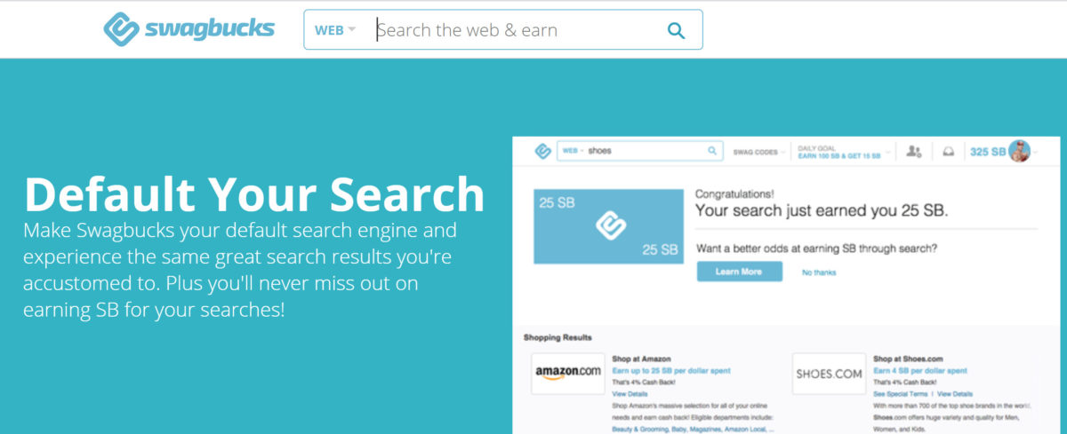 earn SB redeemable for cash by using Swagbucks Search