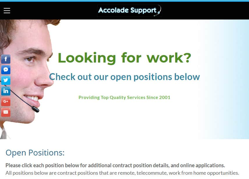 Accolade Support jobs page