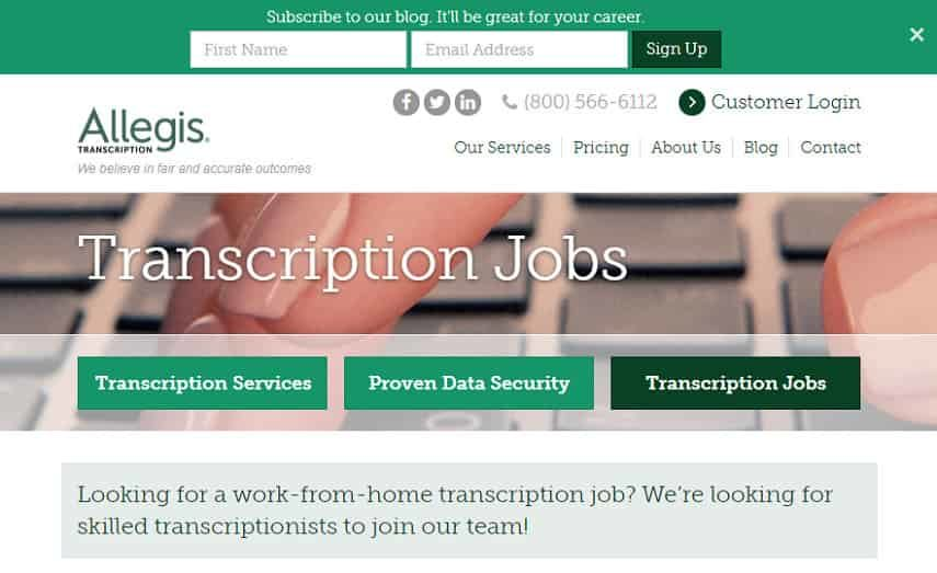 transcribe for Allegis Transcription