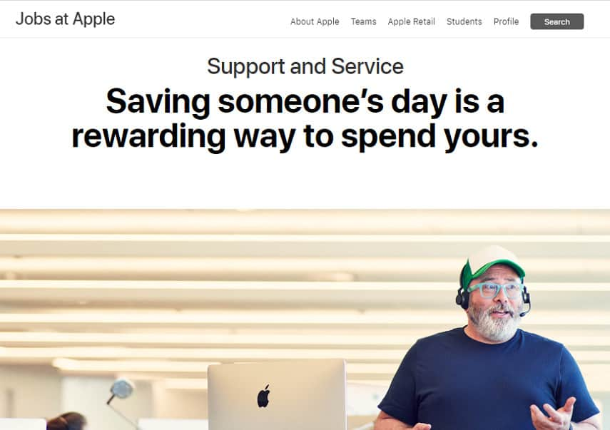 Apple customer supoprt and service jobs site