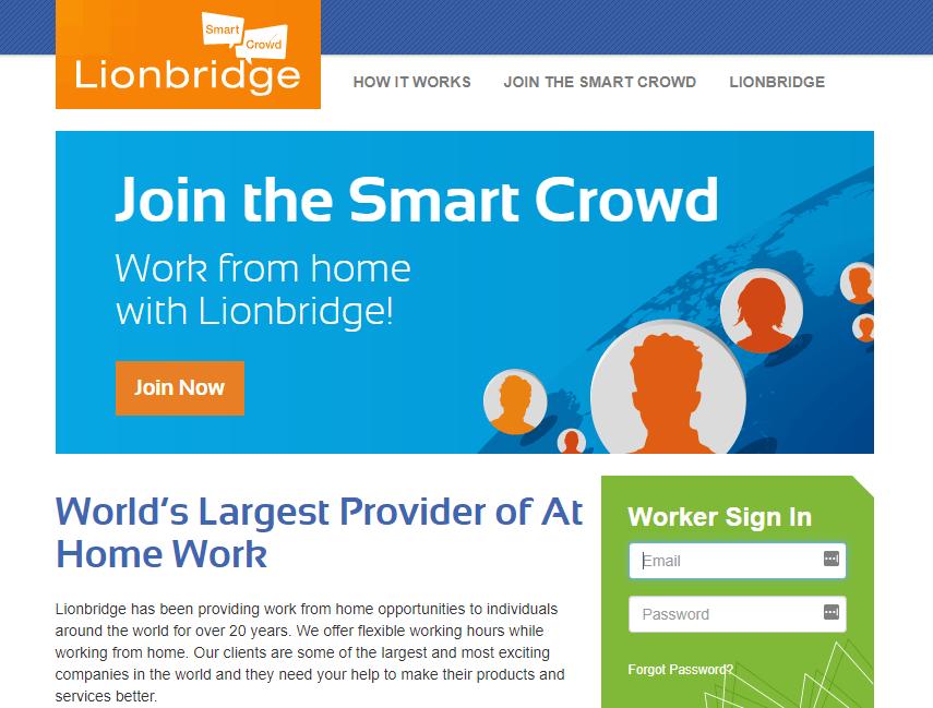 LionBridge SmartCrowd homepage