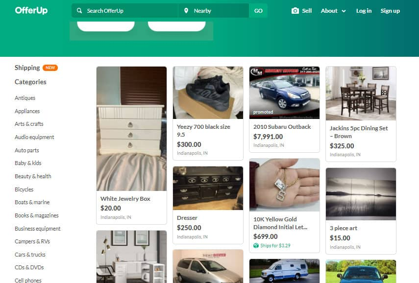 OfferUp homepage