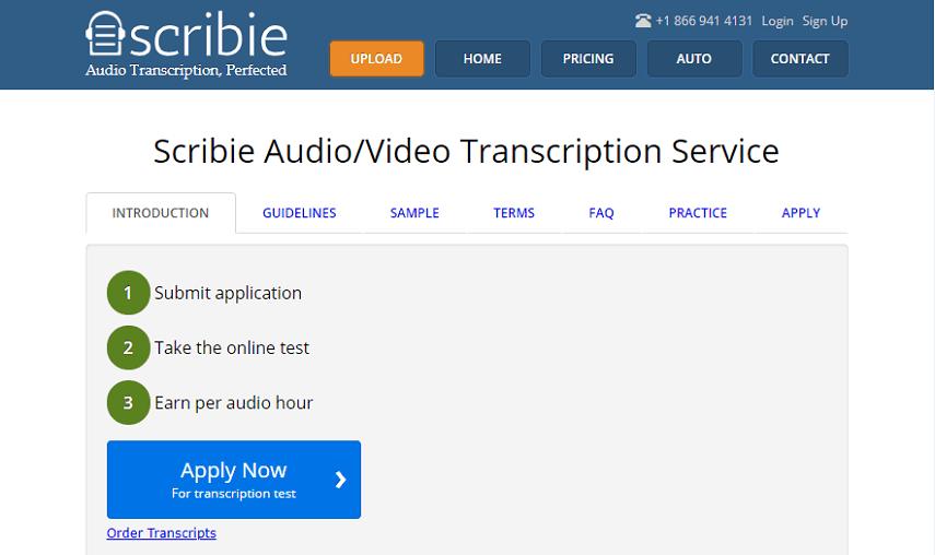 Scribie homepage