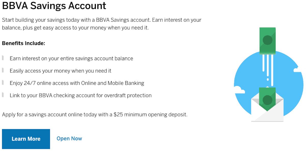 BBVA Savings Account Screenshot