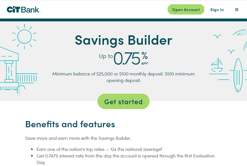 CIT Bank Savings Builder homepage