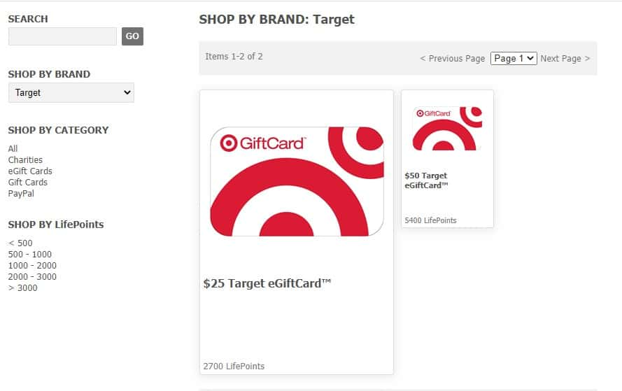 Target gift card from LifePoints