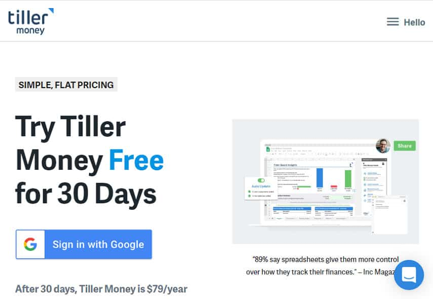 Tiller pricing page