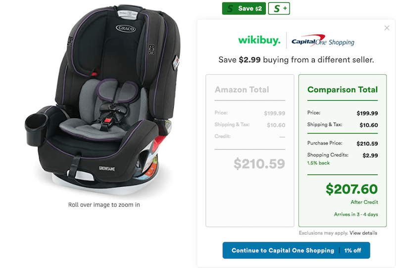 CapitalOne Shopping Amazon Comparison Tool for Car Seat