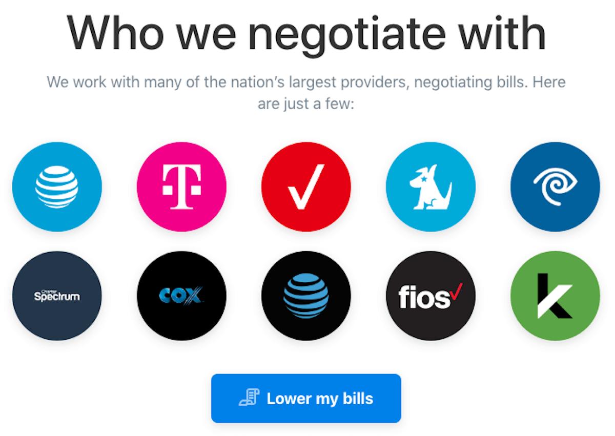 Truebill Providers they negotiate with Screenshot