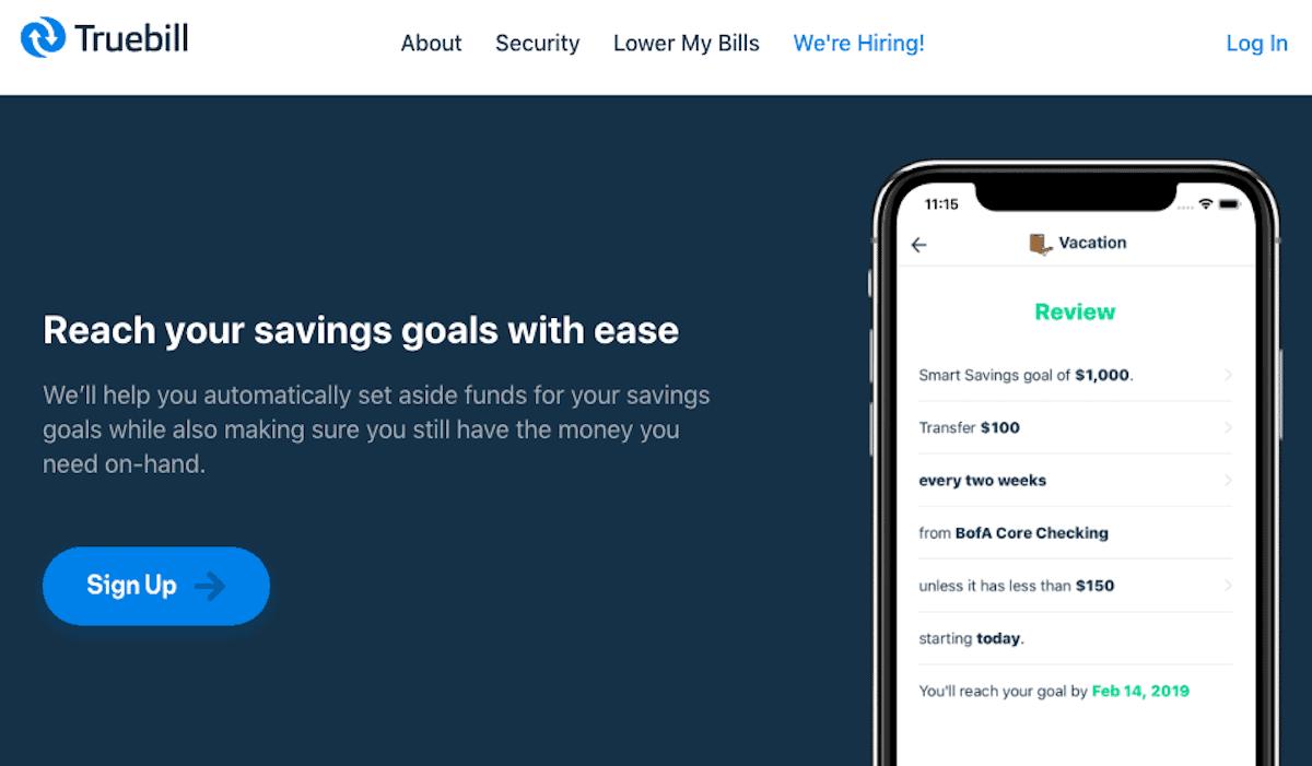 Truebill Savings Goal Screenshot
