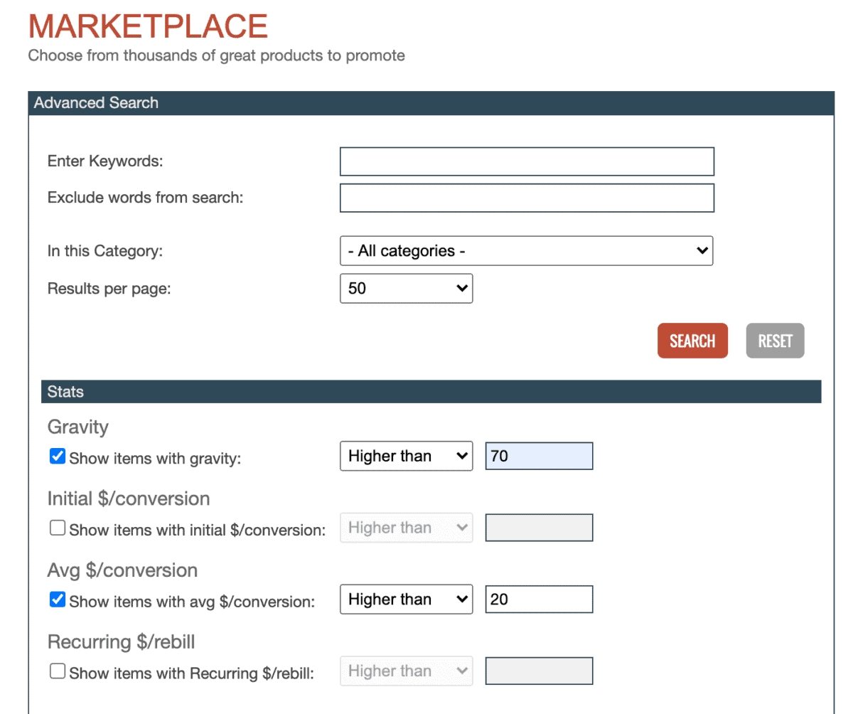 Clickbank Marketplace screenshot