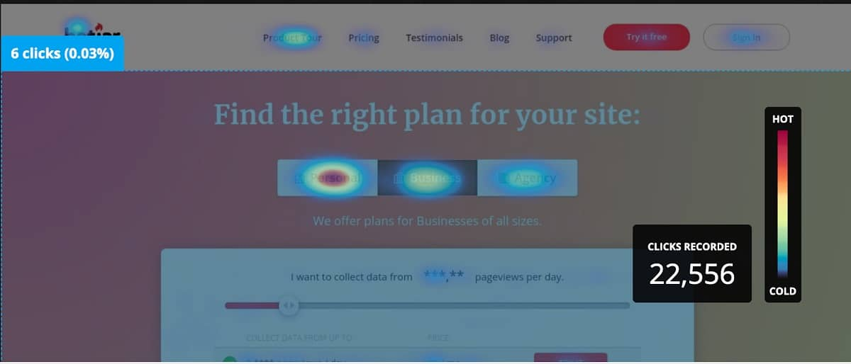 Heat map tool screenshot