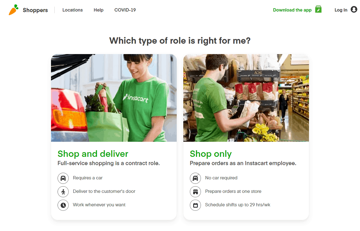 Instacart types of shoppers