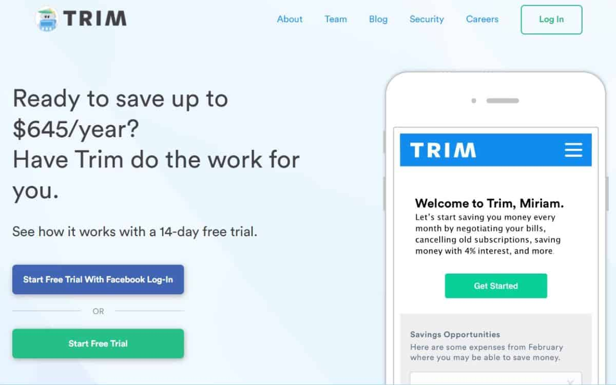 Trim app screenshot