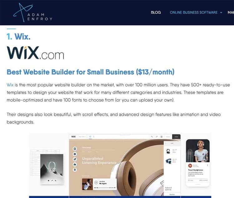 Wix Builder screenshot