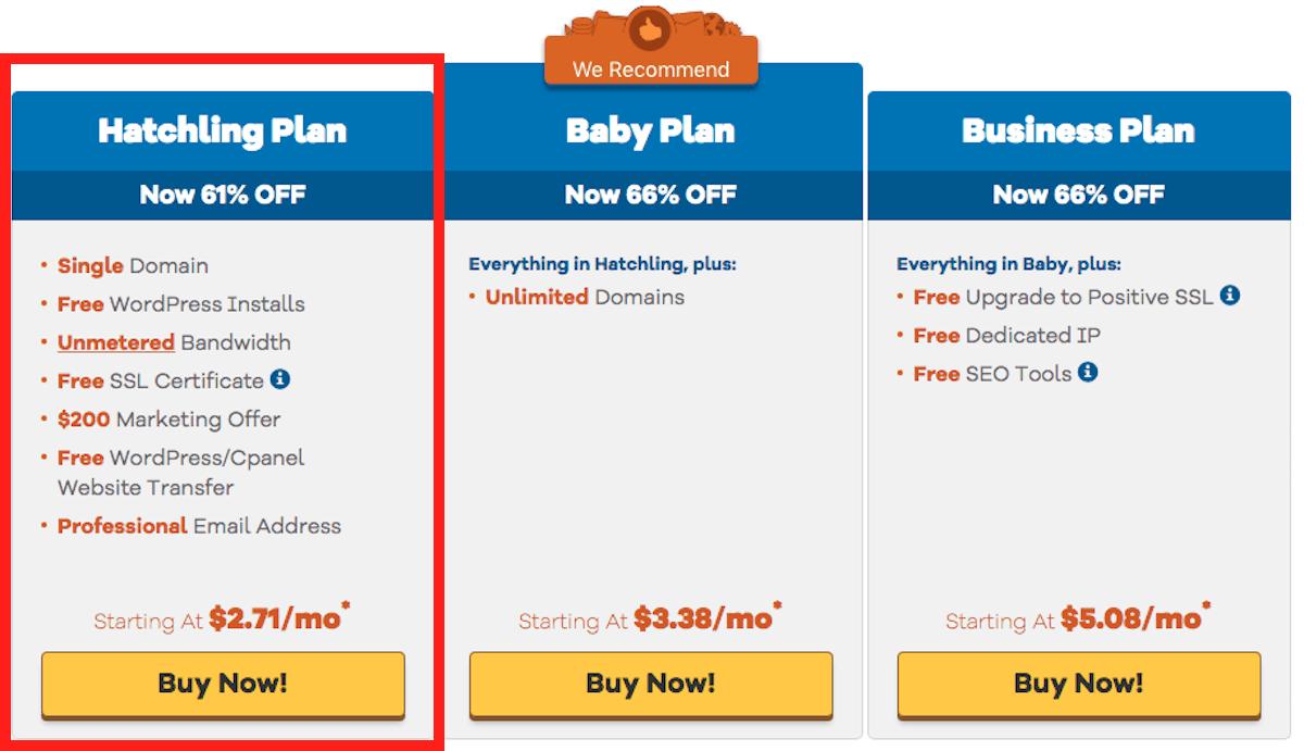 HostGator shared hosting plans