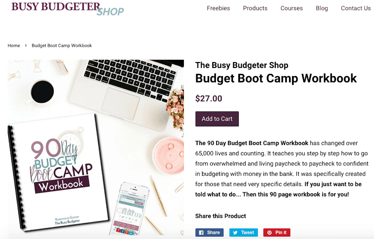 example of selling workbooks on a blog