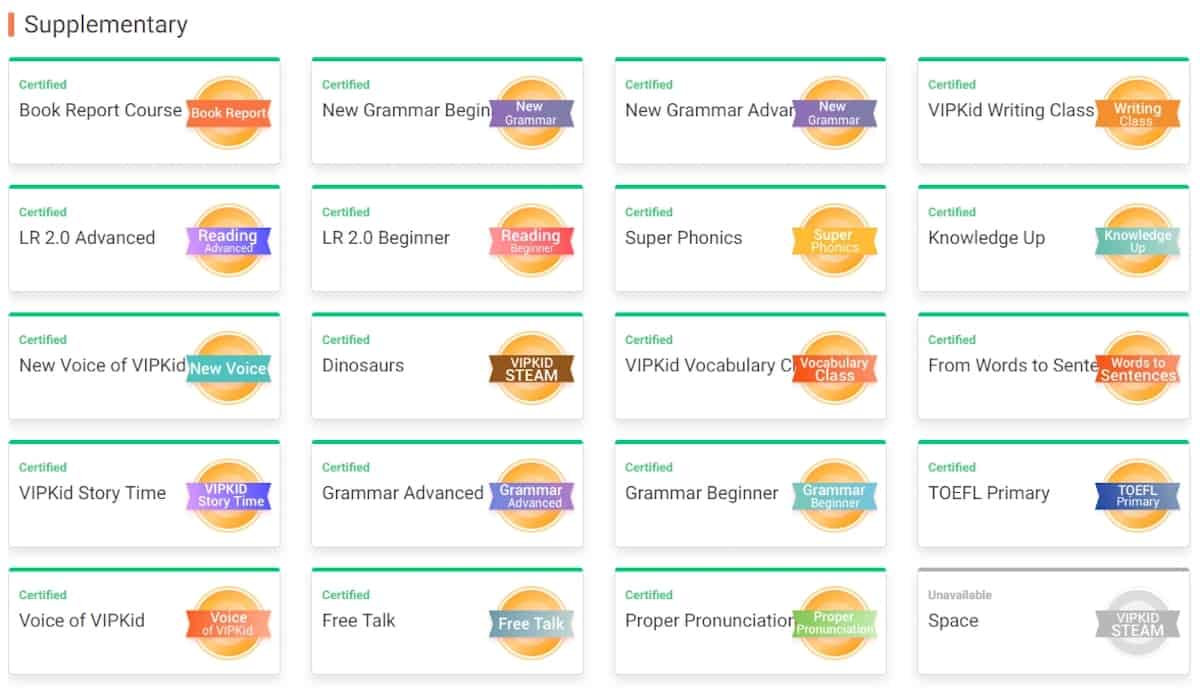 VIPKid Supplementary Courses