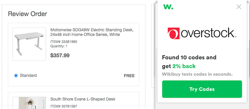 Wikibuy Coupon Codes on Overstock