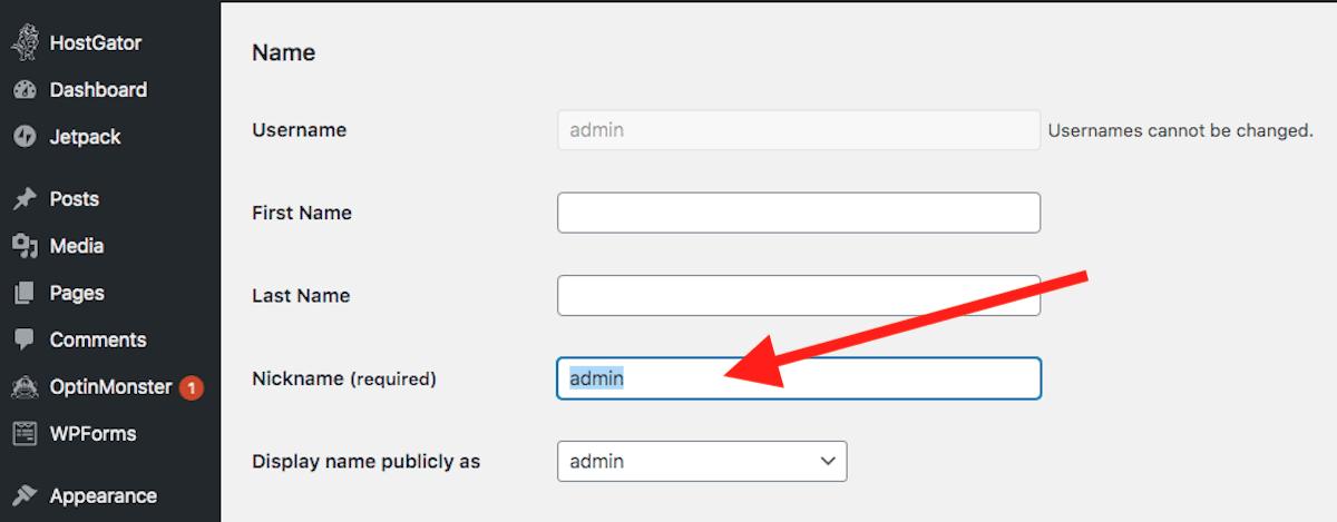 WordPress change user nickname