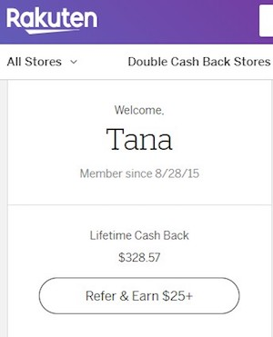 Tana's Rakuten earnings of $300+