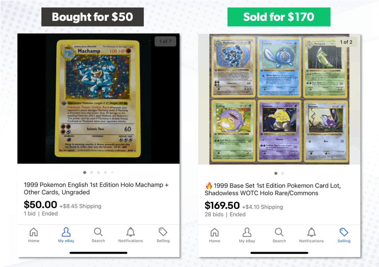 example of an ebay listing for pokemon cards with a poor title