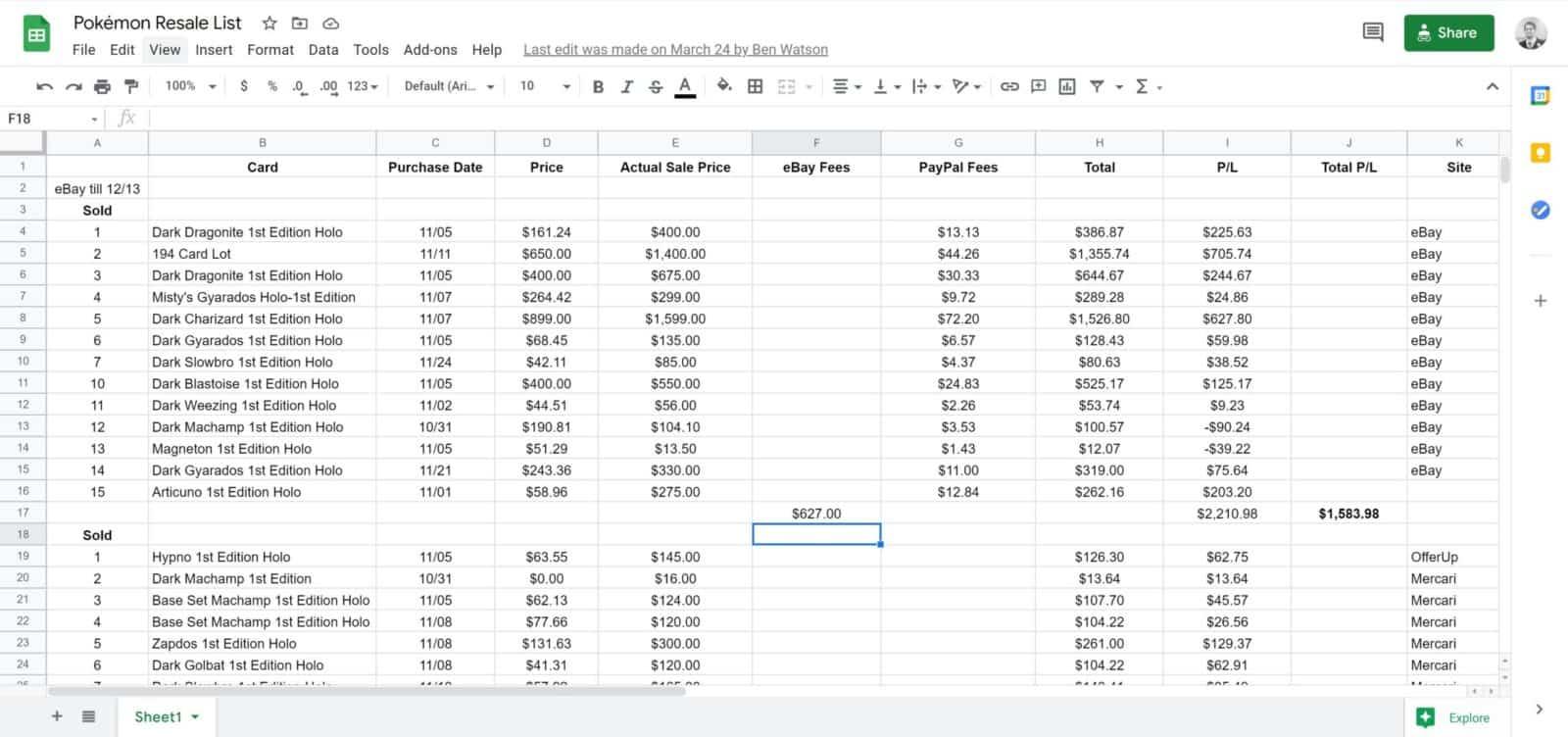 sample tracking sheet for pokemon card flipping side hustle