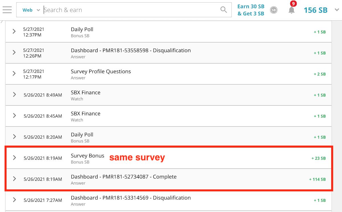 Swagbucks Gold Survey Earnings