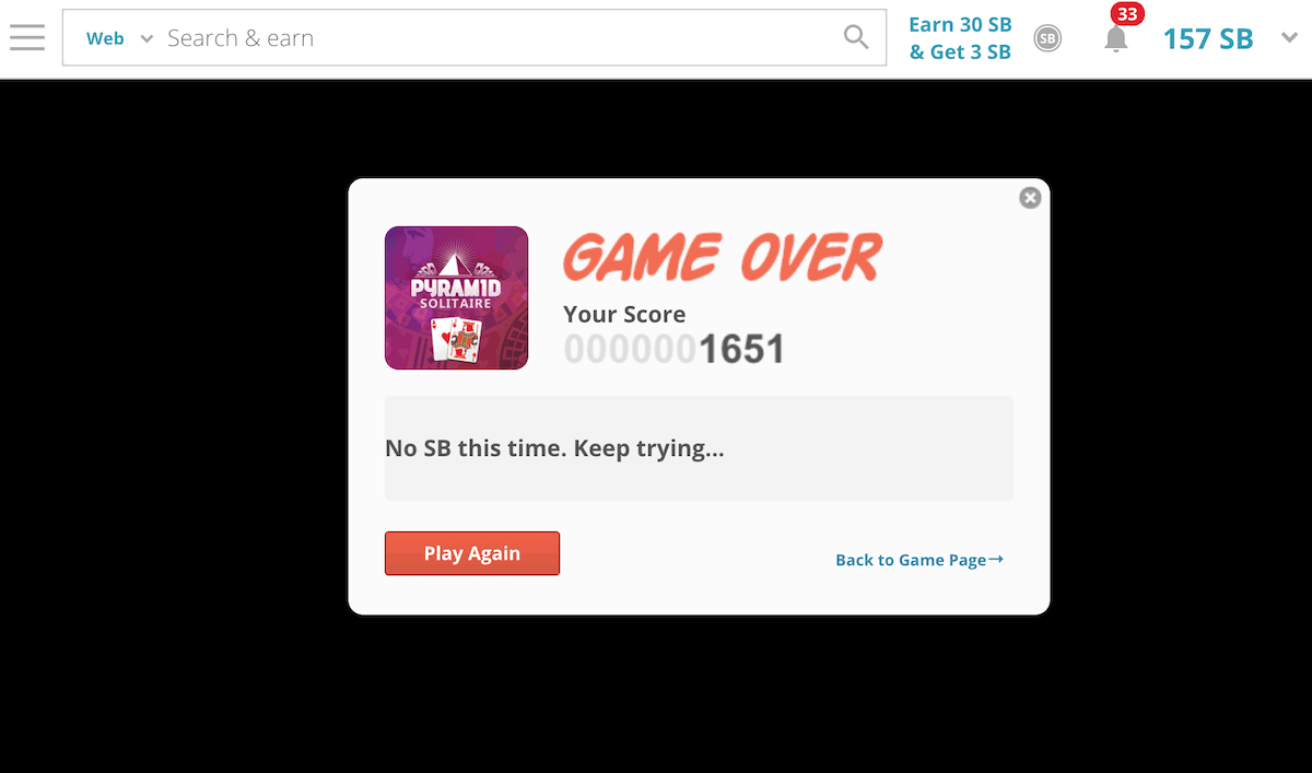 Swagbucks Solitaire No Points