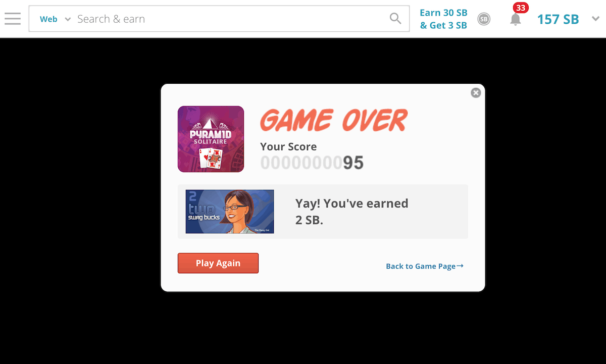 Swagbucks Solitaire Points for Losing
