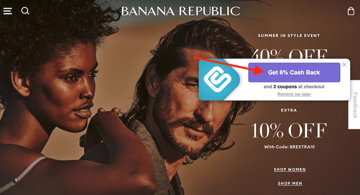 Swagbucks Swag Button on Banana Republic