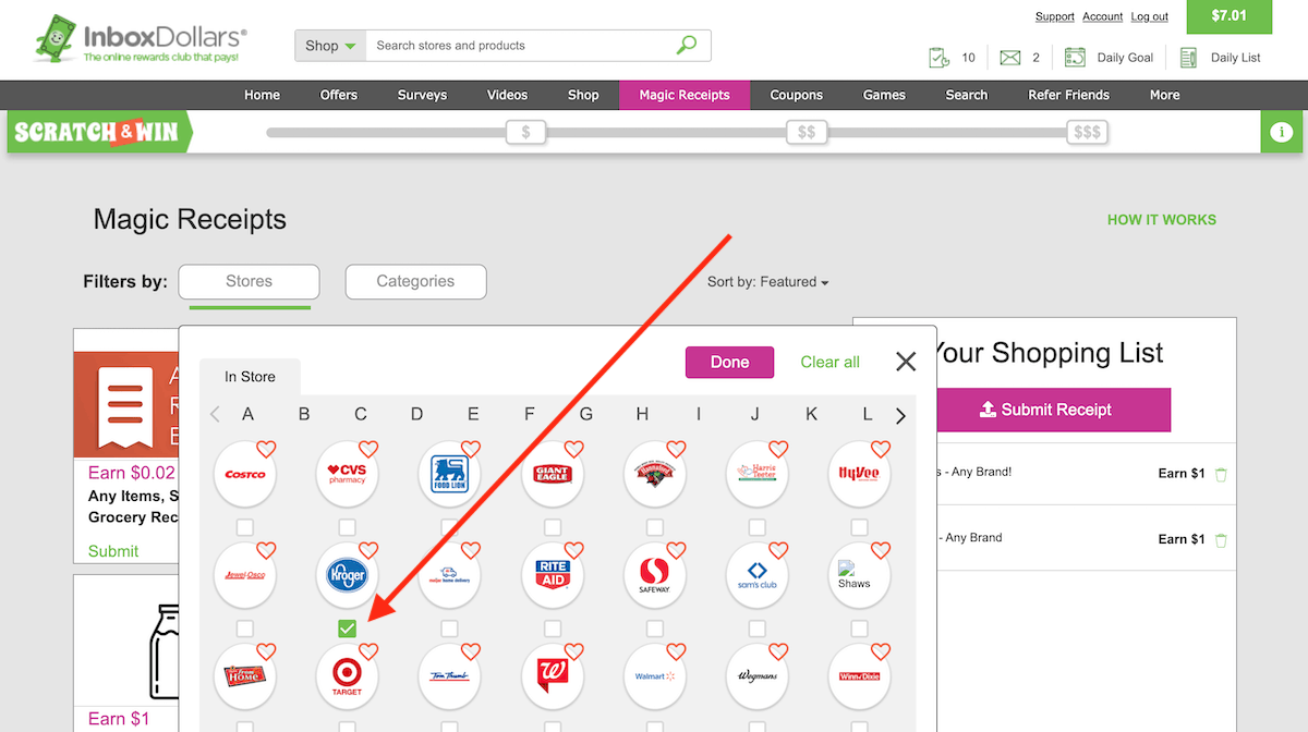 InboxDollars Magic Receipts Stores List