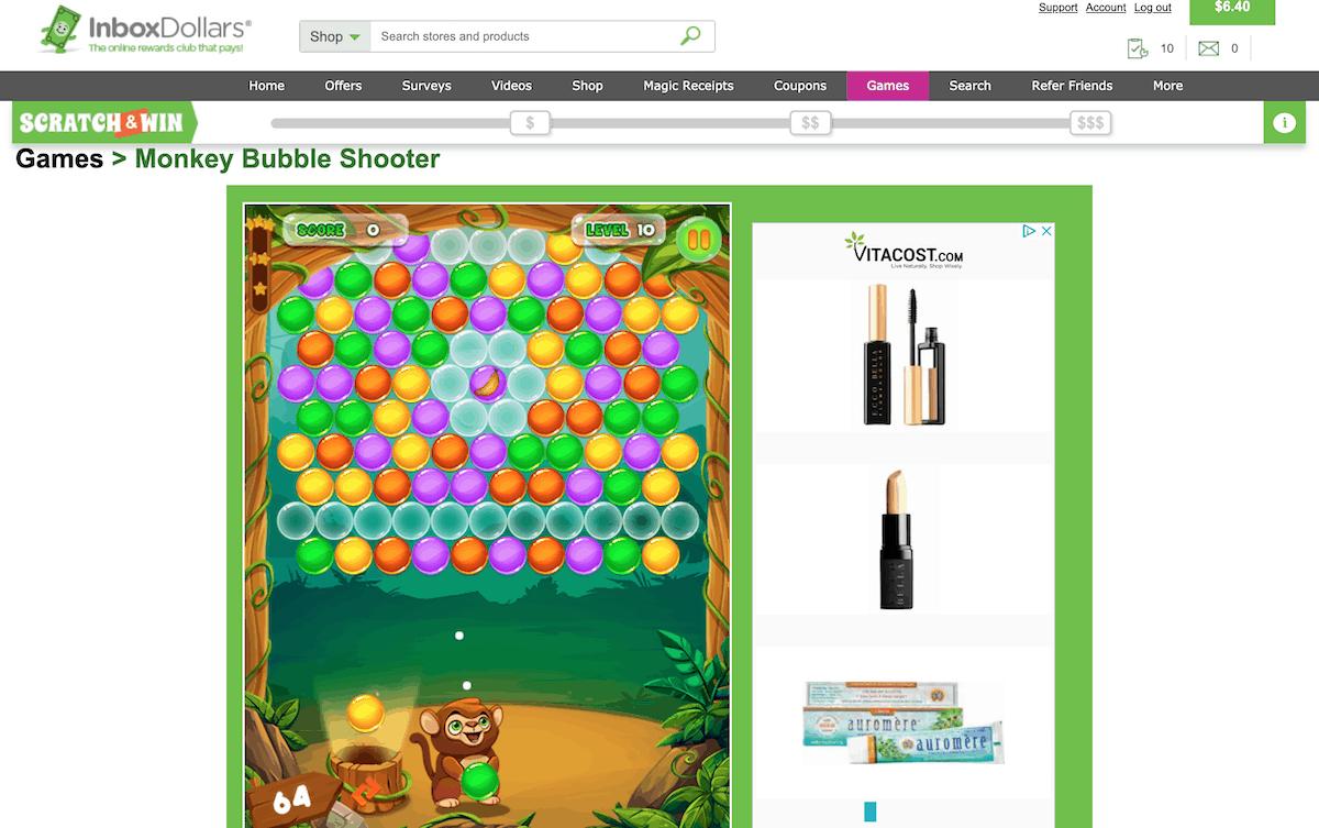 InboxDollars Monkey Bubble Shooter Game