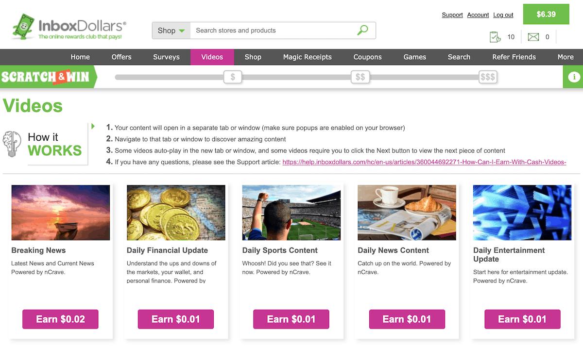 InboxDollars Paid Video Options