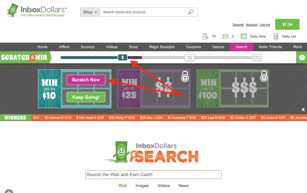 InboxDollars Scratch and Win Tier 1