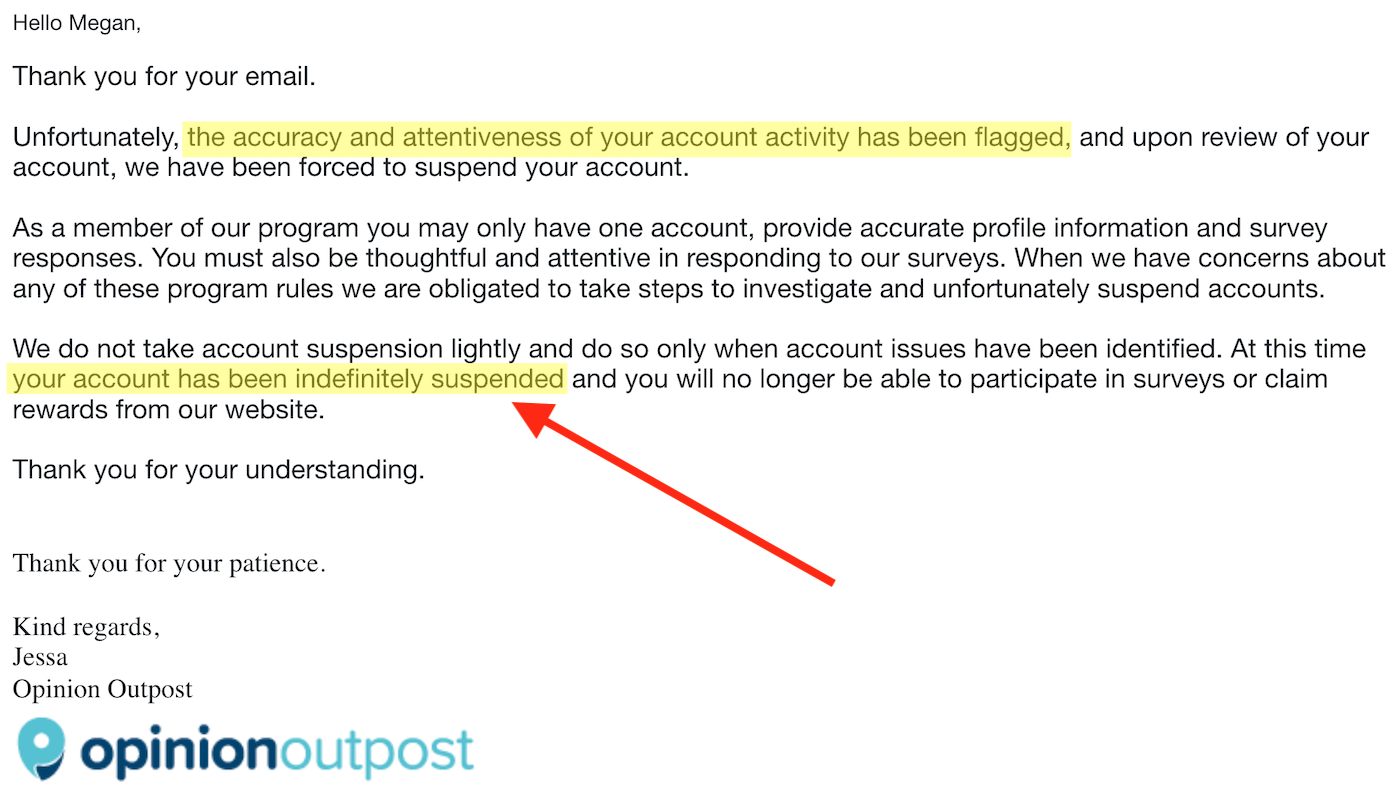 Opinion Outpost Account Banned Email