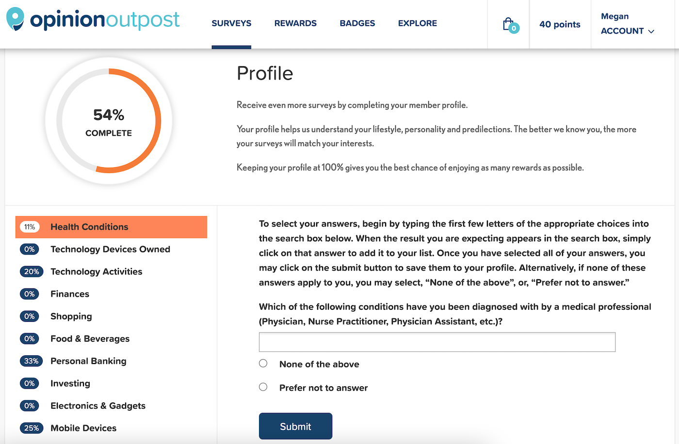 Opinion Outpost Profile Surveys