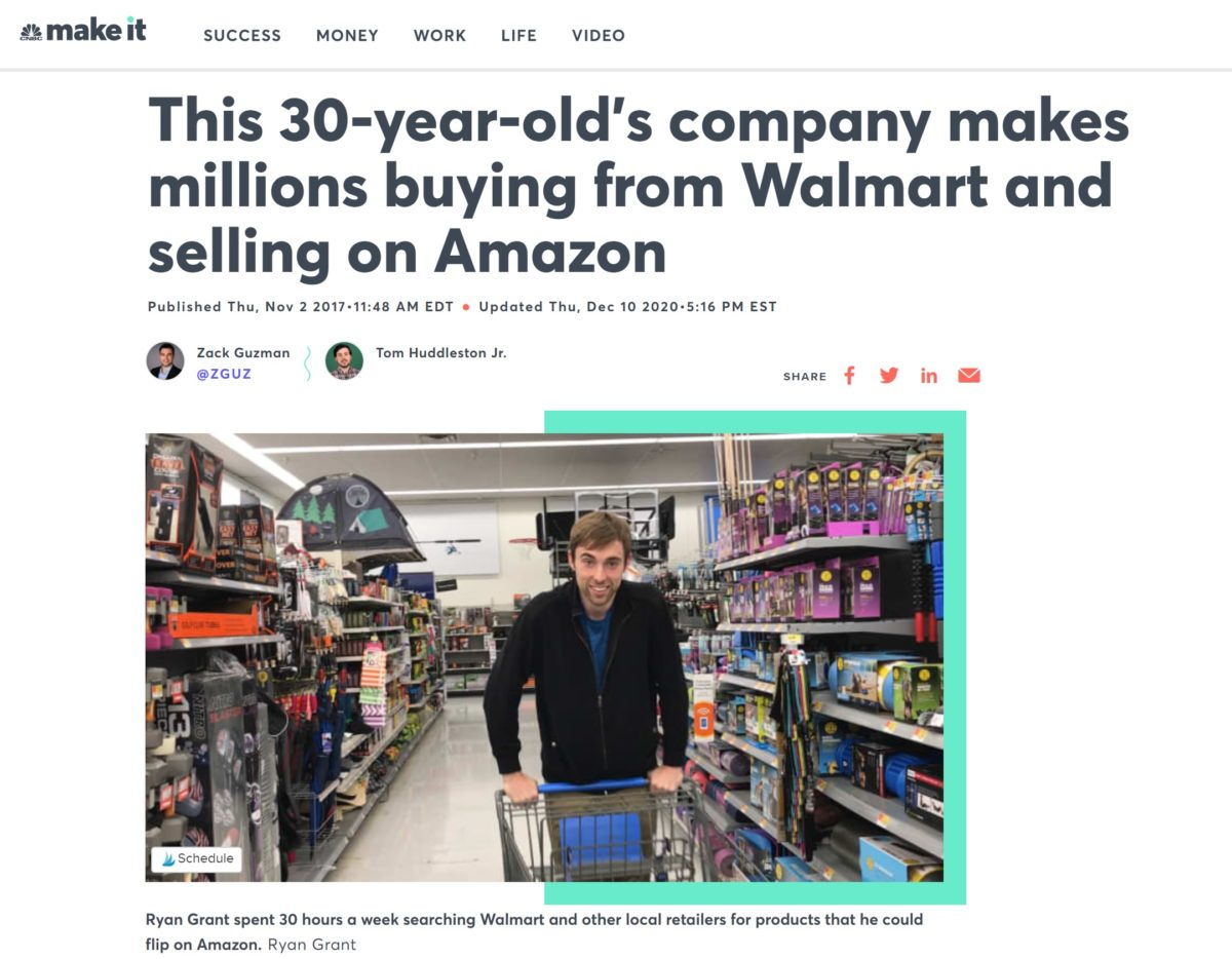 cnbc make it article about young man flipping items on amazon for millions of dollars
