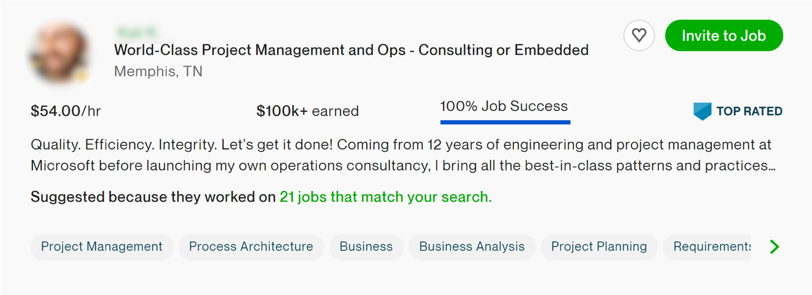 Upwork profile for a Project Manager who charges $54 per hour.