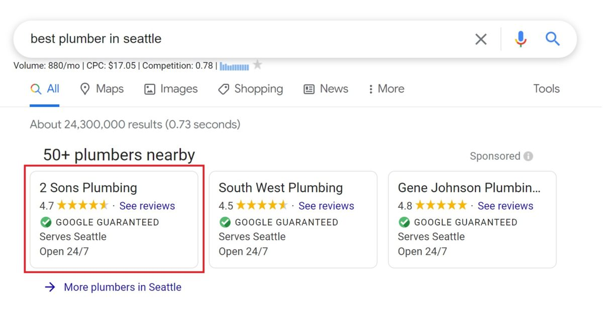 search results for best plumber in seattle