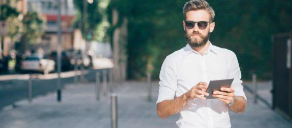 man reviewing passive income ideas online